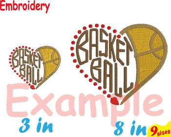Basketball Heart Ball NBA Embroidery Machine digital 4x4 5x7 hoop Stiches 104b