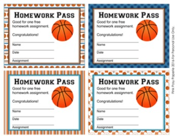 Basketball Homework Passes