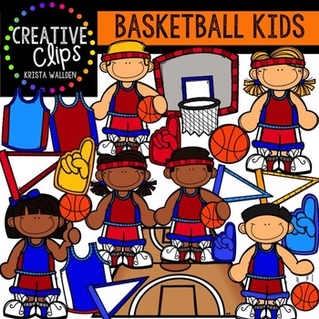 Basketball Kids {Creative Clips Digital Clipart}