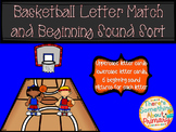 Basketball Letter Match and Beginning Sound Sort