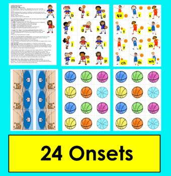 Basketball Literacy Centers:   Word Building - Level 1 - DIBELS Onset Rime