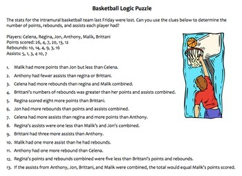 Basketball Logic Puzzles, Critical Thinking Puzzles, Great Bellringers