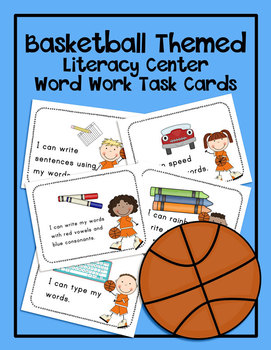 Basketball Literacy Center Word Work Task Cards