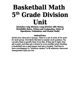 Basketball Math-5th grade division unit