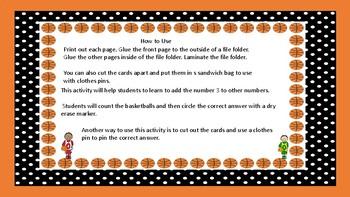 Basketball Math Adding 3 to a Number-Autsim