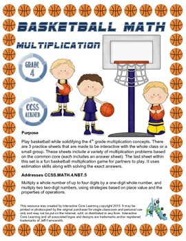 Basketball Math - Multiplication CCSS Aligned