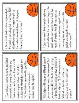 Basketball Math Problem Solving Task Cards and Close Reading
