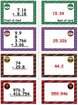 Basketball Bonanza Game Cards (Add & Subtract Decimals) Sets 4-5-6