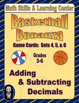 Basketball Bonanza Game Cards (Add & Subtract Decimals) Se