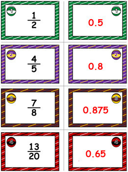 Basketball Bonanza Game Cards (Converting Fractions to Decimals) Sets 4-5-6