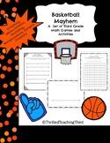 Basketball Mayhem-A Set of 3rd Grade Basketball Math Review Activities