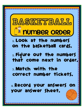 Basketball Number Order Tiered Math Tub