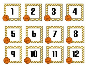 Basketball Number cards- March Madness!