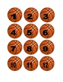 Basketball Numbers for Calendar or Math Activity