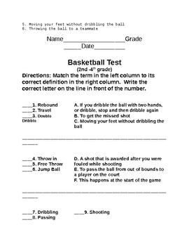 Basketball Packet 2nd - 4th Grade