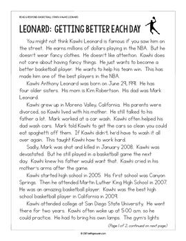 Basketball Paired Texts: Kyrie Irving and Kawhi Leonard (Grades 1-2)