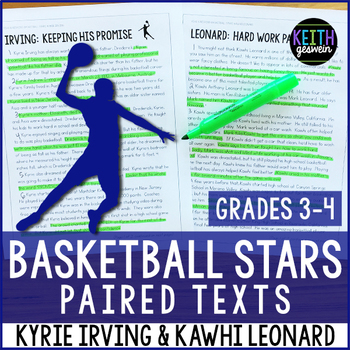 Basketball Paired Texts: Kyrie Irving and Kawhi Leonard (Grades 3-4)