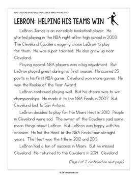 Basketball Paired Texts: LeBron James and Michael Jordan (Grades 1-2)