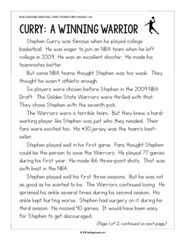 Basketball Paired Texts: Steph Curry and Kobe Bryant (Grades 1-2)