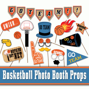 photo relating to Photo Props Printable called Basketball Image Booth Props and Decorations - Printable