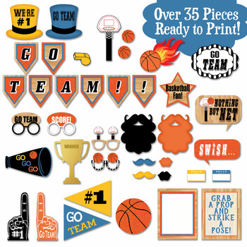 photograph relating to Printable Basketball named Basketball Image Booth Props and Decorations - Printable