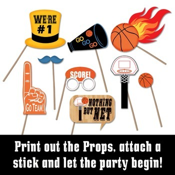 picture regarding Printable Basketball Pictures titled Basketball Image Booth Props and Decorations - Printable