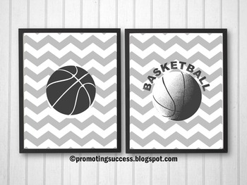 Basketball Themed Gray Chevron Sports Posters
