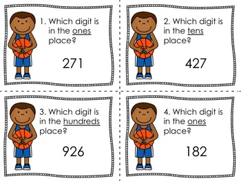 Basketball Place Value Task Cards {Ones, Tens, and Hundreds}