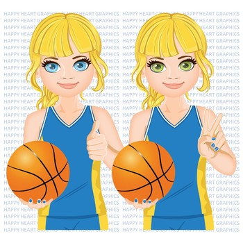Basketball / Player  / Female / Girl / Clipart  – Happy Heart Graphics