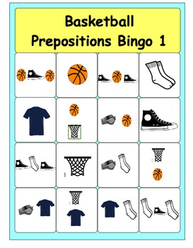 Basketball Prepositions Bingo