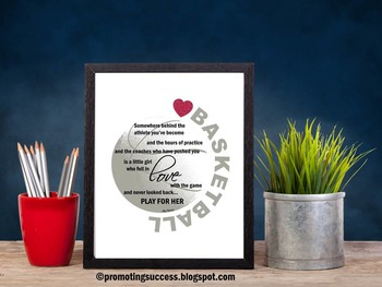 Basketball Gift Idea for Girl Player or Coach Motivational Quote Poster