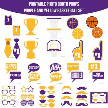 Basketball Purple Yellow Printable Photo Booth Prop Set