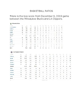 Basketball Ratios (from 12/6/19 Bucks vs Clippers game)
