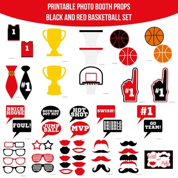 Basketball Red Black Printable Photo Booth Prop Set