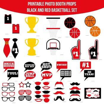 Basketball Red Black Printable Photo Booth Prop Set