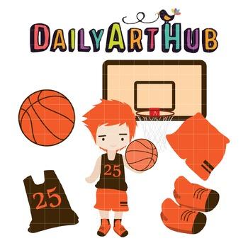 Basketball Set Clip Art - Great for Art Class Projects!