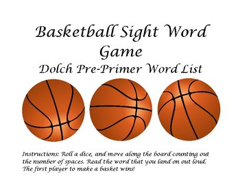 Basketball Sight Word Game Pre-Primer