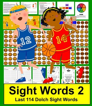 Basketball Sight Words Literacy Center - Set 2 - Last 114 Dolch Words
