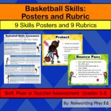 Basketball Skills W/ Rubrics: 9 Skills Posters & 9 Basketb
