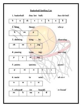 Basketball Spelling List
