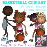 Basketball Sport Action Clip Art Set - 18 Clipart images
