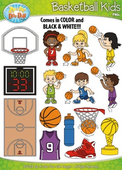 Basketball Sports Kid Characters Clipart {Zip-A-Dee-Doo-Dah Designs}