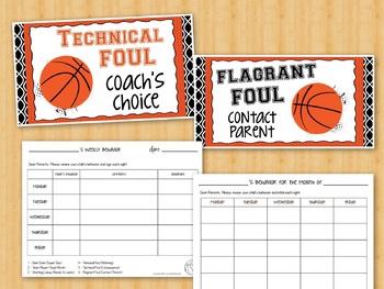 Basketball Sports Theme Behavior Chart - Clip Chart