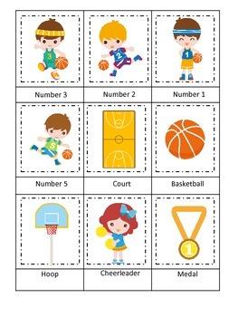 Basketball Sports (boys) Three Part Matching preschool educational activity.
