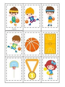 Basketball Sports (boys) themed Memory Matching preschool educational activity.