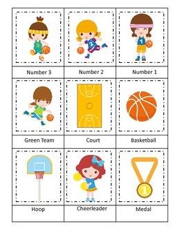 Basketball Sports (girls) Three Part Matching preschool educational activity.