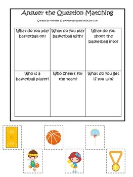 Basketball Sports themed Answer the Question preschool educational learning game