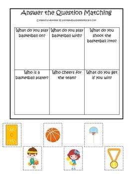 Basketball Sports themed Answer the Question preschool edu
