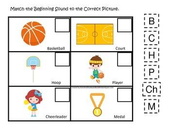 Basketball Sports themed Beginning Sound preschool educational learning game.