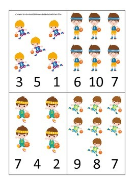 Basketball Sports themed Count and Clip Cards preschool educational activity.
